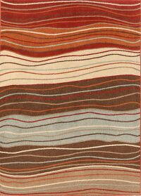 Multi-Colored Waves Design Chester Oriental Area Rug 7x10