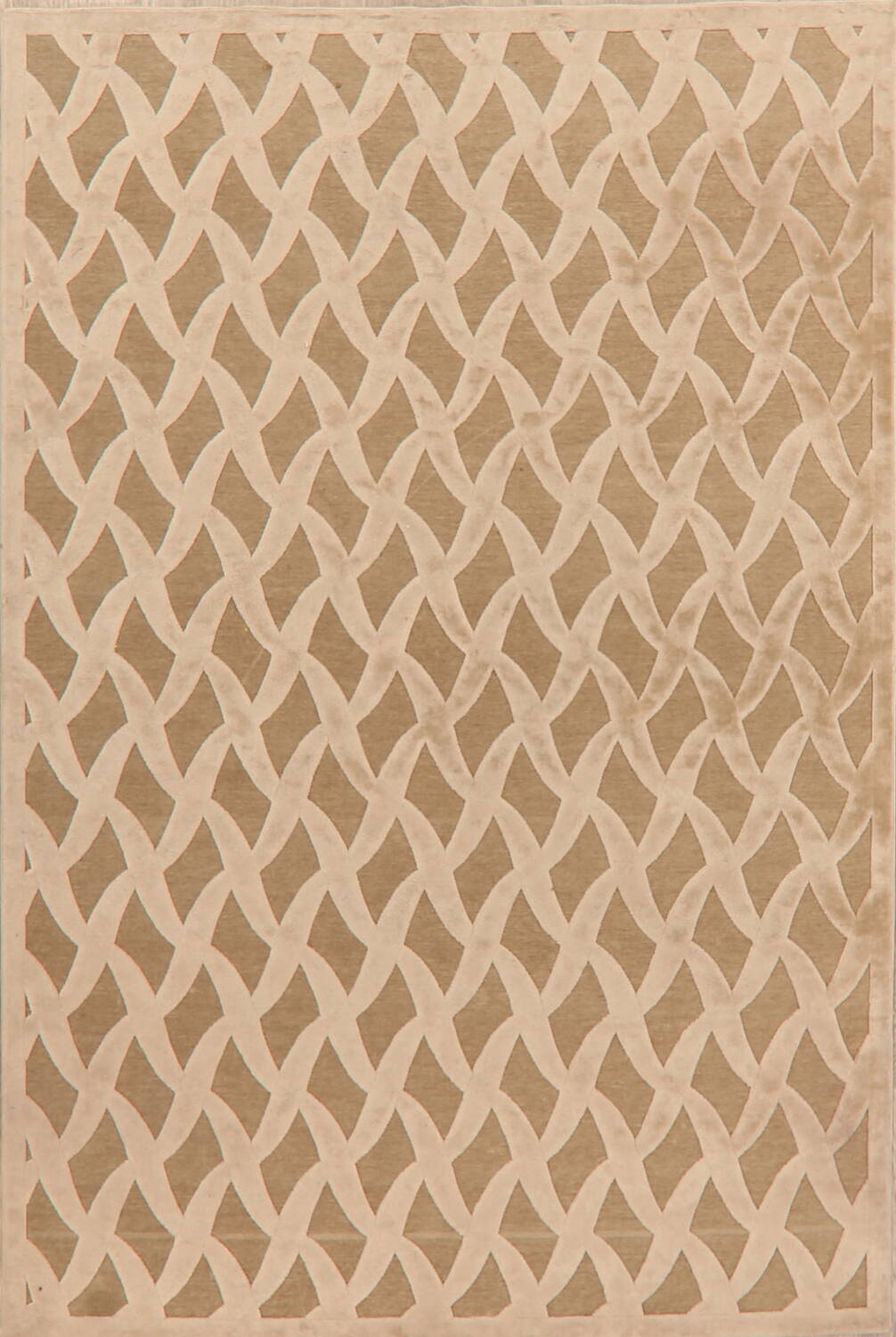 All-Over Waves Design Modern Oriental Area Rug 6x9 image 1