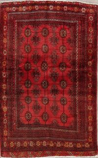 Vintage Geometric Red Balouch Persian Area Rug 3x5