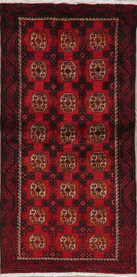 Vintage Geometric Red Balouch Oriental Runner Rug 3x6