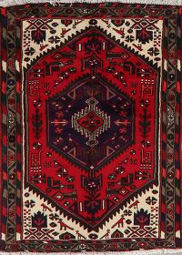 Tribal Geometric Red Hamedan Persian Area Rug 3x5