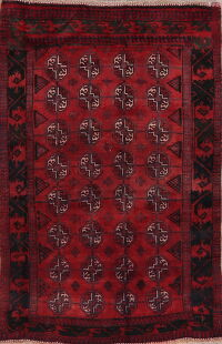 Geometric Red Balouch Afghan Area Rug 4x5