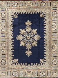Navy Blue Geometric Kerman Persian Area Rug 10x13