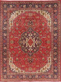 Vintage Red Geometric Tabriz Persian Area Rug 10x13