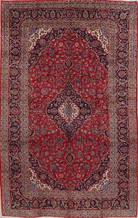 Traditional Floral Red Kashan Persian Area Rug 8x13
