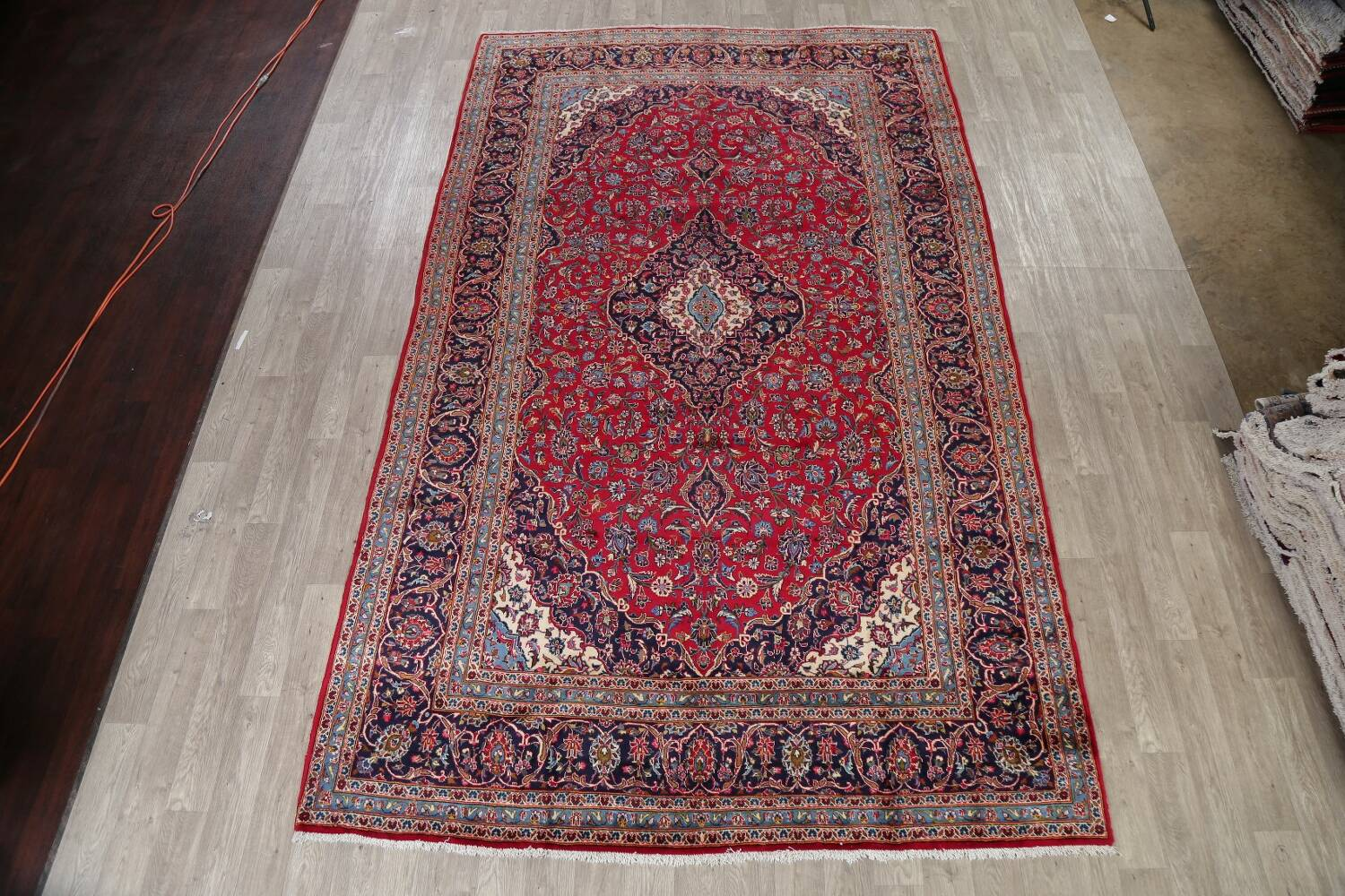 Traditional Floral Red Kashan Persian Area Rug 8x13 image 2