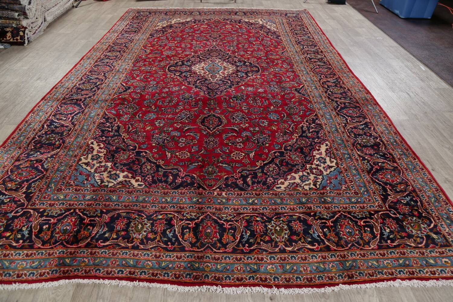 Traditional Floral Red Kashan Persian Area Rug 8x13 image 16