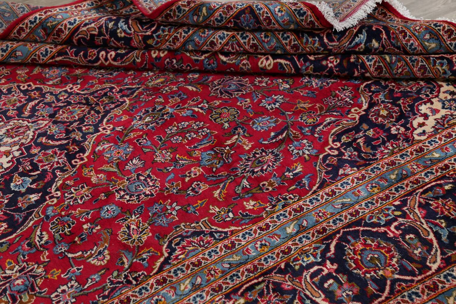 Traditional Floral Red Kashan Persian Area Rug 8x13 image 17