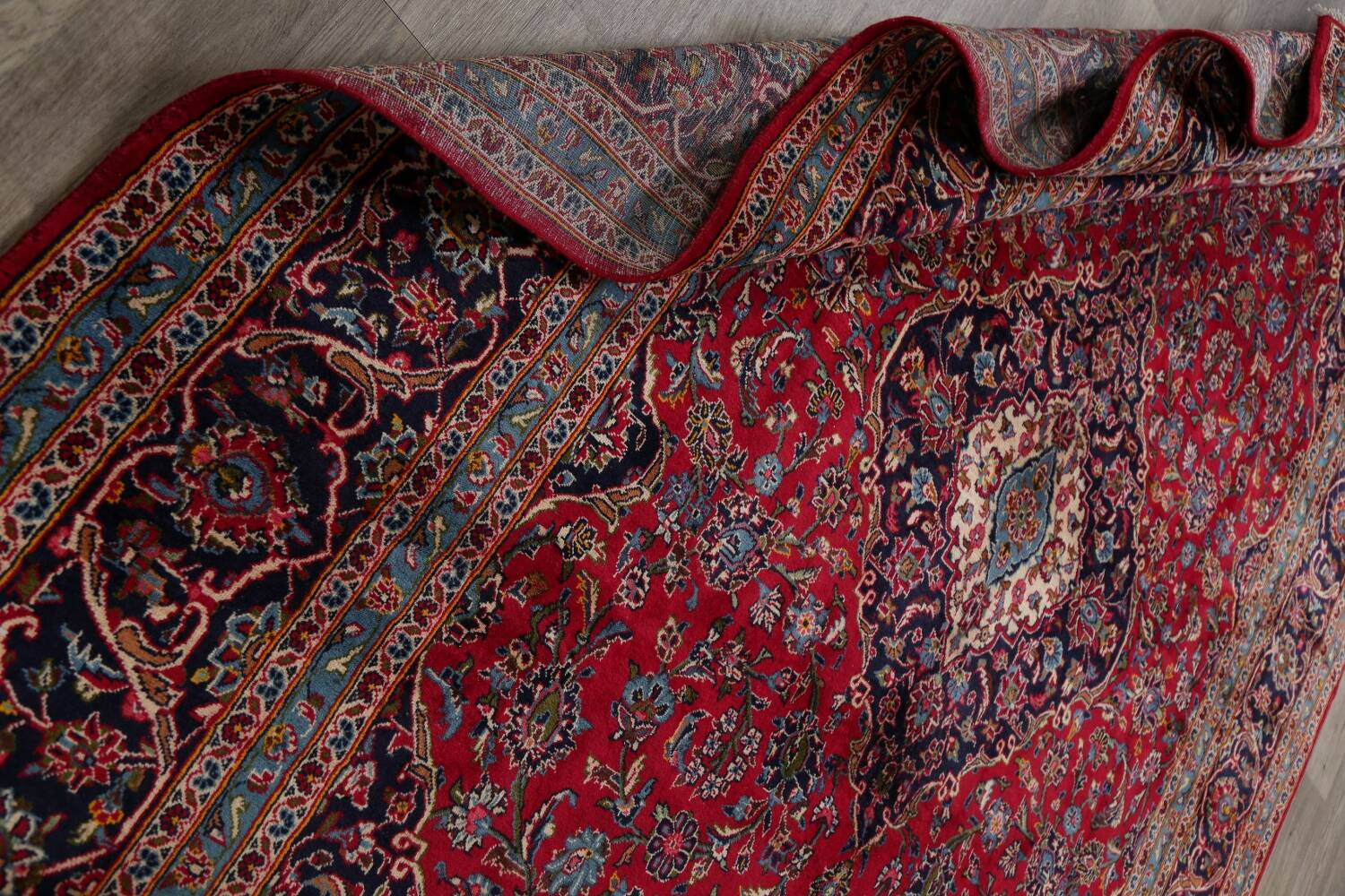Traditional Floral Red Kashan Persian Area Rug 8x13 image 18