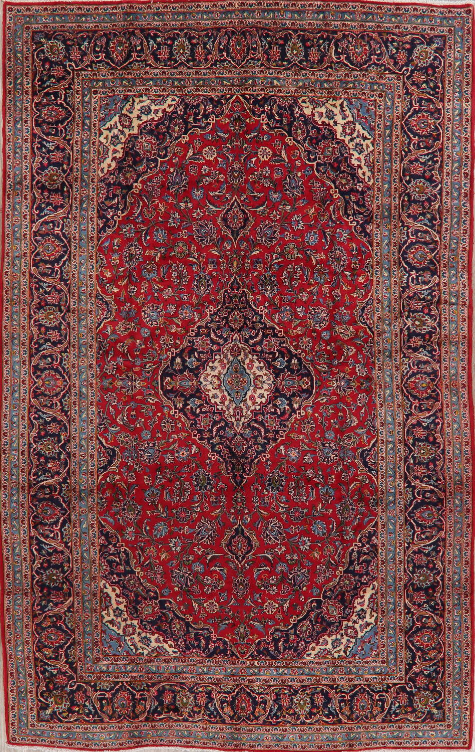 Traditional Floral Red Kashan Persian Area Rug 8x13 image 1