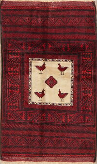 Animal Pictorial Tribal Balouch Oriental Area Rug 3x5