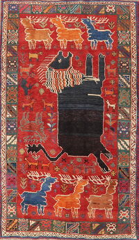 Animal Pictorial Red Shiraz Persian Area Rug 5x8