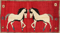 Animal Pictorial Gabbeh Shiraz Persian Rug 3x6