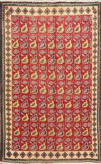 All-Over Red Geometric Tabriz Persian Area Rug 3x5