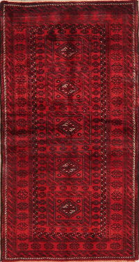 Geometric Red Balouch Afghan Area Rug 3x6