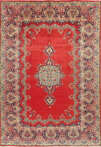 Vintage Red Floral Sarouk Persian Area Rug 9x12