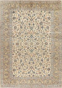 Vegetable Dye Vintage Floral Kashan Persian Area Rug 10x14