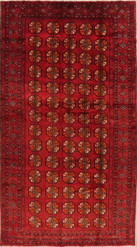 Geometric Red Balouch Persian Area Rug 7x13