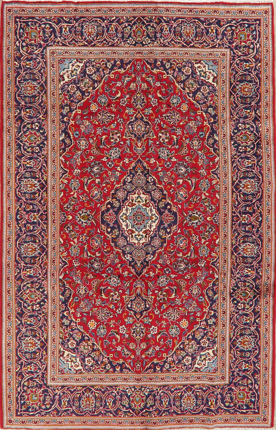 Traditional Floral Red Kashan Persian Area Rug 6x10 image 1