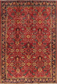 Vintage All-Over Red Tabriz Persian Area Rug 7x11
