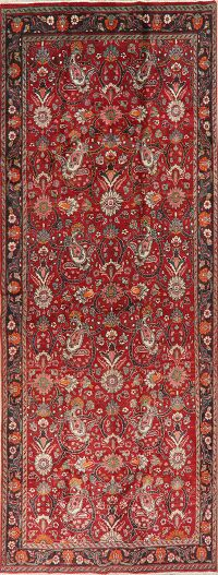 Vintage All-Over Red Tabriz Persian Runner Rug 5x14