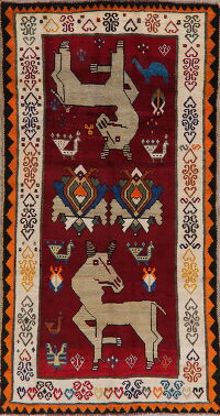 Animal Pictorial Tribal Gabbeh Shiraz Persian Area Rug 4x8