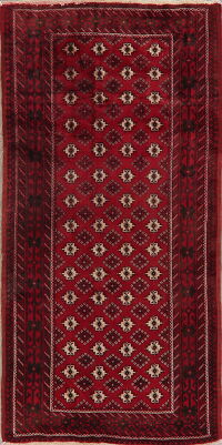 Vintage Red Geometric Balouch Persian Area Rug 4x8