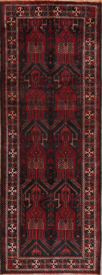 Vintage Geometric Tribal Zanjan Persian Runner Rug 4x10