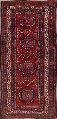 Vintage Geometric Red Malayer Persian Runner Rug 4x9
