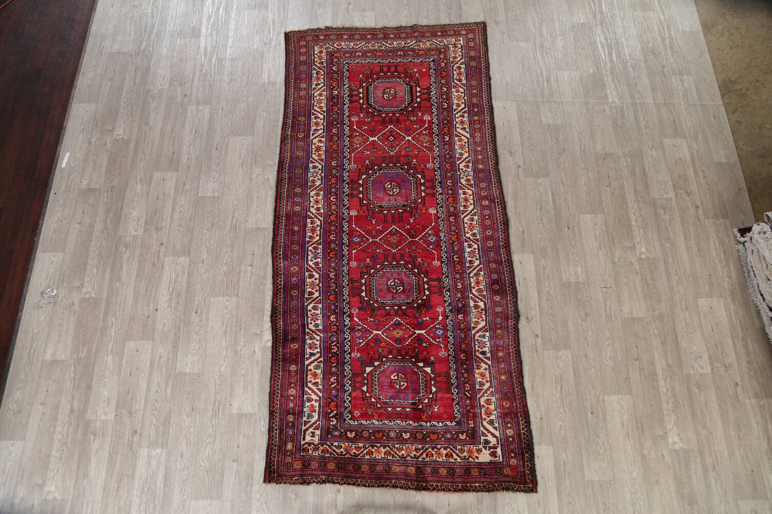 Vintage Geometric Red Malayer Persian Runner Rug 4x9 image 2