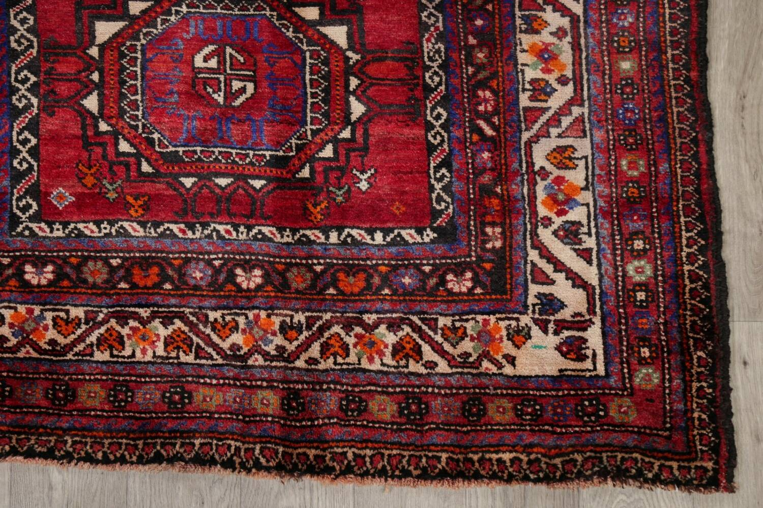 Vintage Geometric Red Malayer Persian Runner Rug 4x9 image 5
