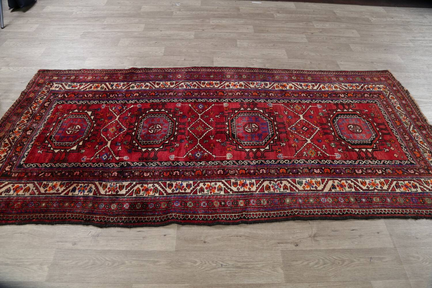 Vintage Geometric Red Malayer Persian Runner Rug 4x9 image 15