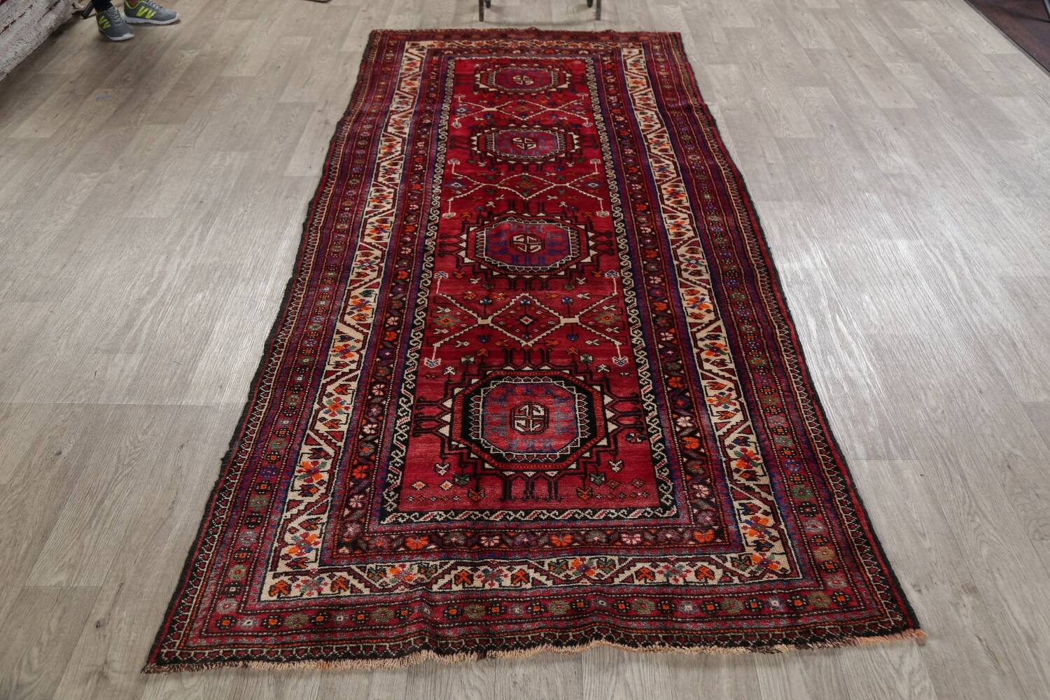 Vintage Geometric Red Malayer Persian Runner Rug 4x9 image 16