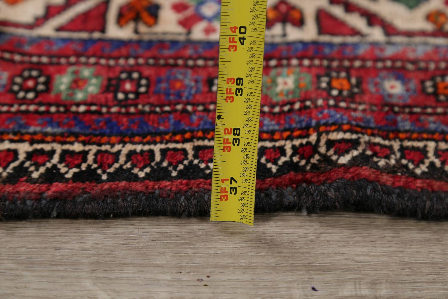 Vintage Geometric Red Malayer Persian Runner Rug 4x9 image 20