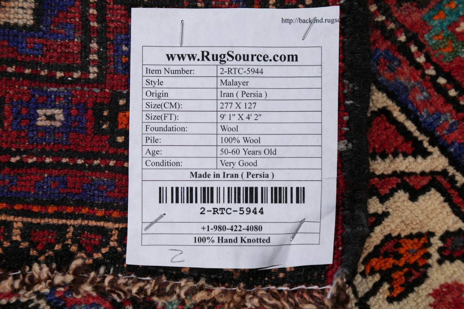 Vintage Geometric Red Malayer Persian Runner Rug 4x9 image 23