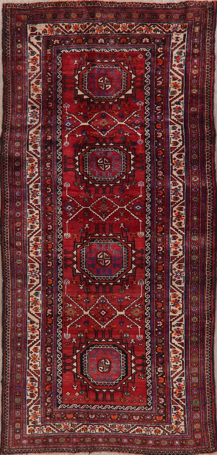 Vintage Geometric Red Malayer Persian Runner Rug 4x9 image 1