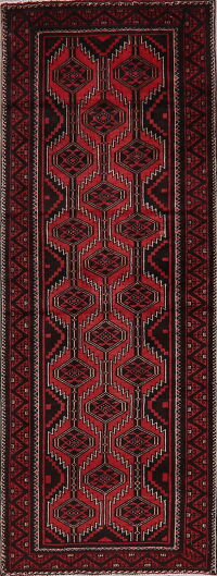 Vintage Geometric Red Balouch Persian Runner Rug 3x8