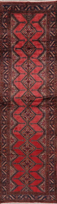 Vintage Geometric Red Hamedan Persian Runner Rug 4x13
