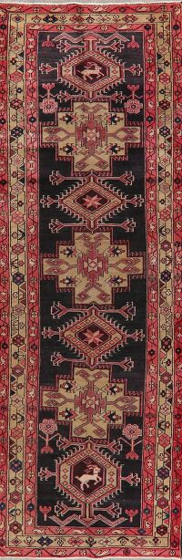 Vintage Tribal Geometric Heriz Persian Runner Rug 3x10