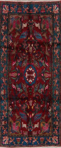 Animal Pictorial Red Malayer Persian Runner Rug 4x9