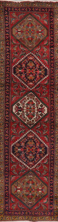 Geometric Red Heriz Serapi Persian Runner Rug 3x11