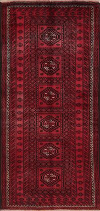 Vintage Red Geometric Balouch Oriental Area Rug 4x8