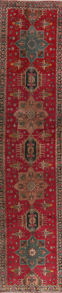 Vintage Geometric Red Tabriz Persian Runner Rug 3x13