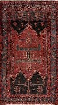 Antique Geometric Red Zanjan Persian Area Rug 4x8