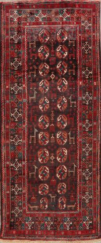 Animal Pictorial Tribal Balouch Persian Runner Rug 4x10