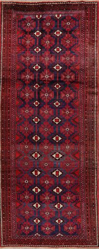 All-Over Geometric Balouch Persian Runner Rug 4x9