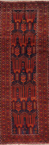 Vintage Geometric Balouch Persian Runner Rug 3x9