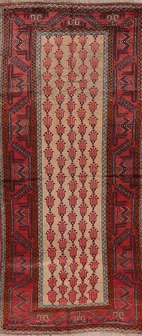 Antique Geometric Balouch Persian Runner Rug 3x7