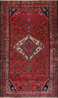 Antique Geometric Red Mahal Persian Area Rug 5x8
