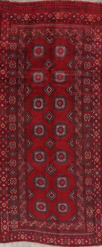 Geometric Red Balouch Oriental Runner Rug 4x9